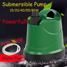 15/20/40/55/80W New Water Pump Fish Tank Submersible Ultra-Quiet Fountain Aquarium Pond Spout Feature FREE Pipe