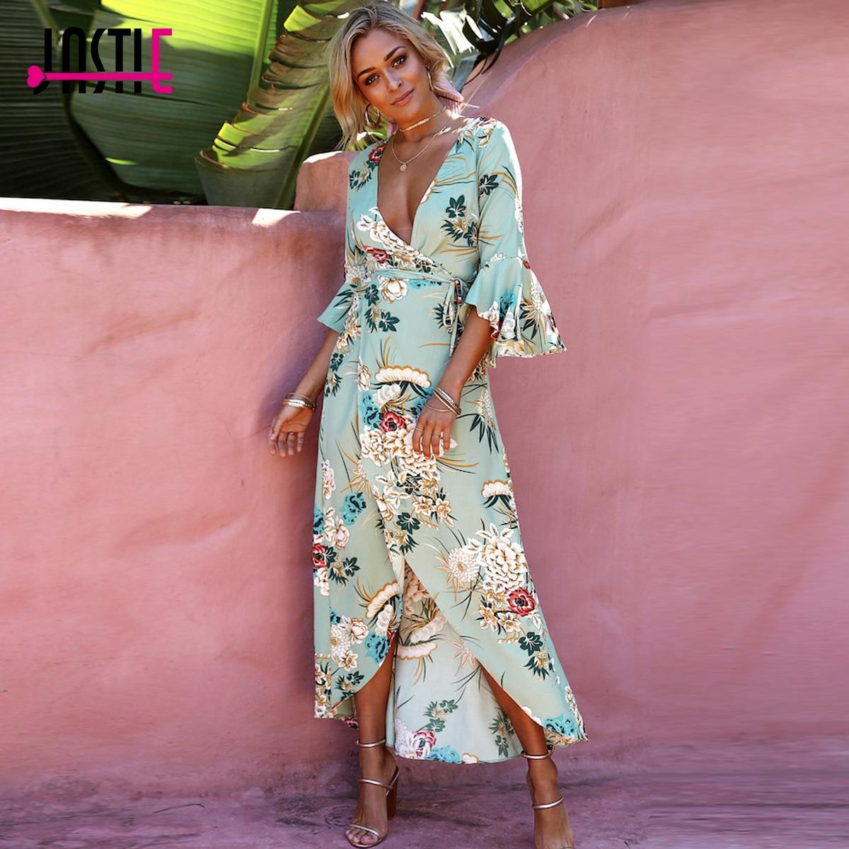 Jastie 2018 estilo primavera mujer intuición vestido Maxi Flare ...