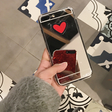 For Samsung S8 Plus S6 S7 J3 J5 J7 Note3 4 5 (2015 ) (2016) Back Cover DIY Stitches Love Heart Silver Mirror Soft TPU Phone Case