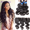 Alimoda Brazilian Virgin Hair With Closure Brazilian Body Wave Hair With Closure 4 Bundles Human Hair With Closure