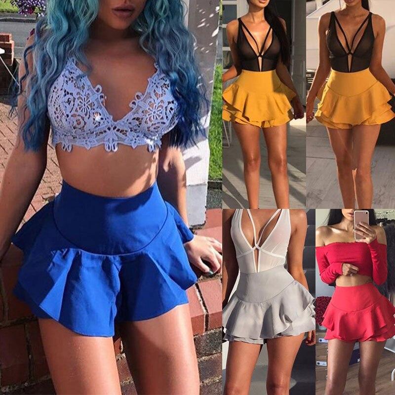 Women Summer Layered Ruffled Pleated Skirt High Waisted Casual Mini Skirts Shorts H9