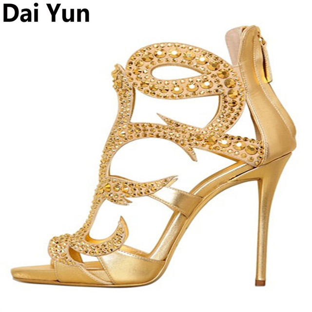 Sexy Women Glitter Gold Rivets Drilled Stilettos Sandals High Heels Summer  Ladies Bling Open toe Party Dress Sandalias Shoe 63778dd46