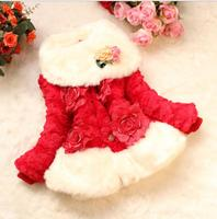 Single Breasted Fake Fur Girl S Jackets Long Sleeve Coats For Girls Scarf Collar Floral Children