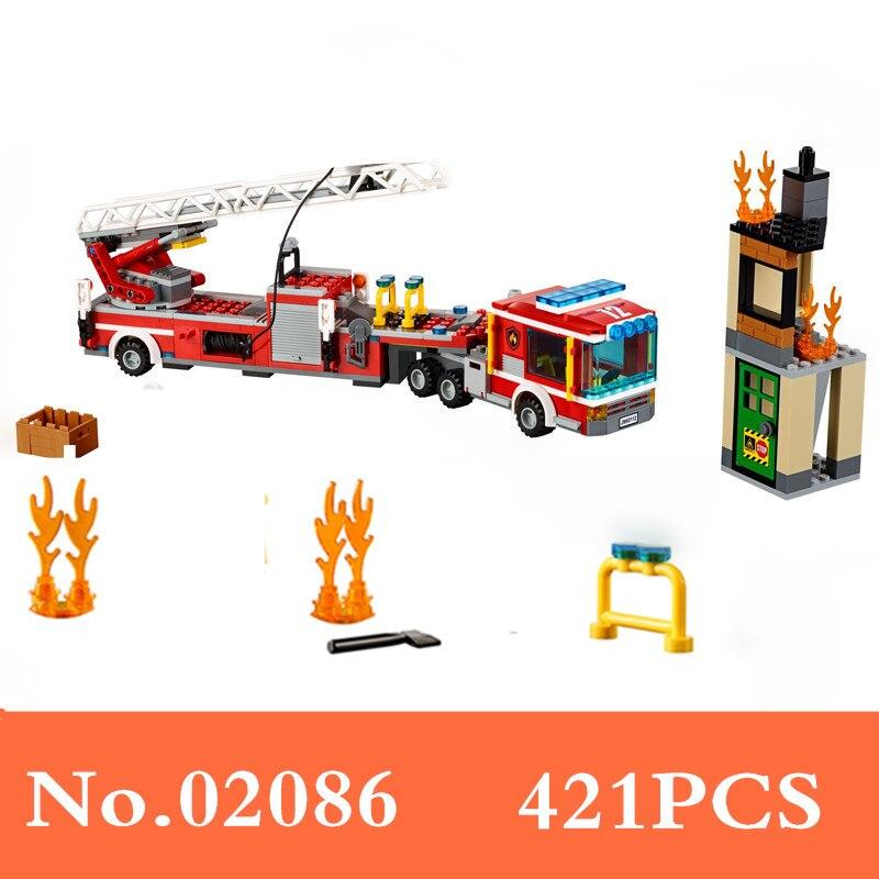 60112 Gneuine 421PCS City Series The Fire Engine Set Building Blocks Bricks 02086 Toys Tor Children B214 crusade volume 4 the fire beaks
