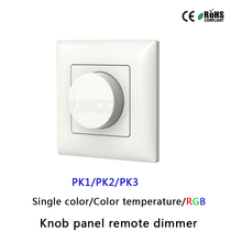 PK1/PK2/PK3 2.4G Wall mounted Knob panel led dimmer remote controller for single color/color temperature/RGB led strip light