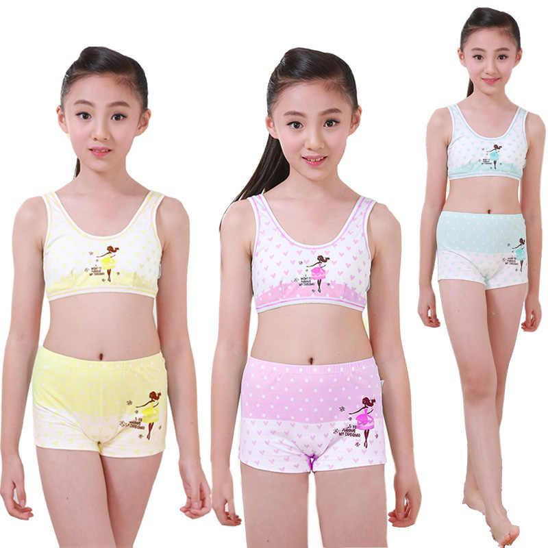 e24d1a1c09dfd Girls Cosy Undies Puberty Children Teenagers Student Sport Set Pretty Girl  Cotton Underwear Set Training Bras
