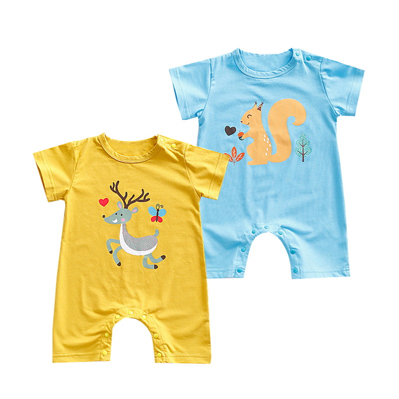 2018 Cute baby clothes infants romper newborn clothing summer cartoon animal boxer short ...