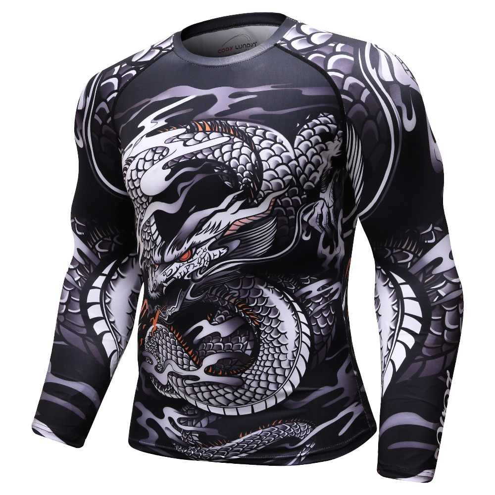 Homens 3d impresso dragão chinês mma t camisa marvel compressão superior cruz caber camisas ginásios musculação camiseta