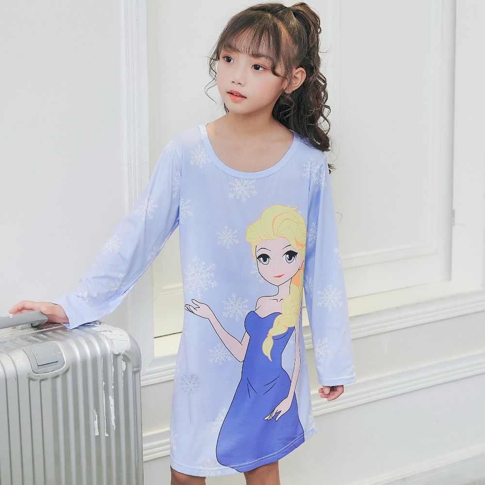5bd18295ddd1 Spring   Autumn Big girls Nightgown Pajamas kids long sleeved nightdress  cute cartoon child female baby