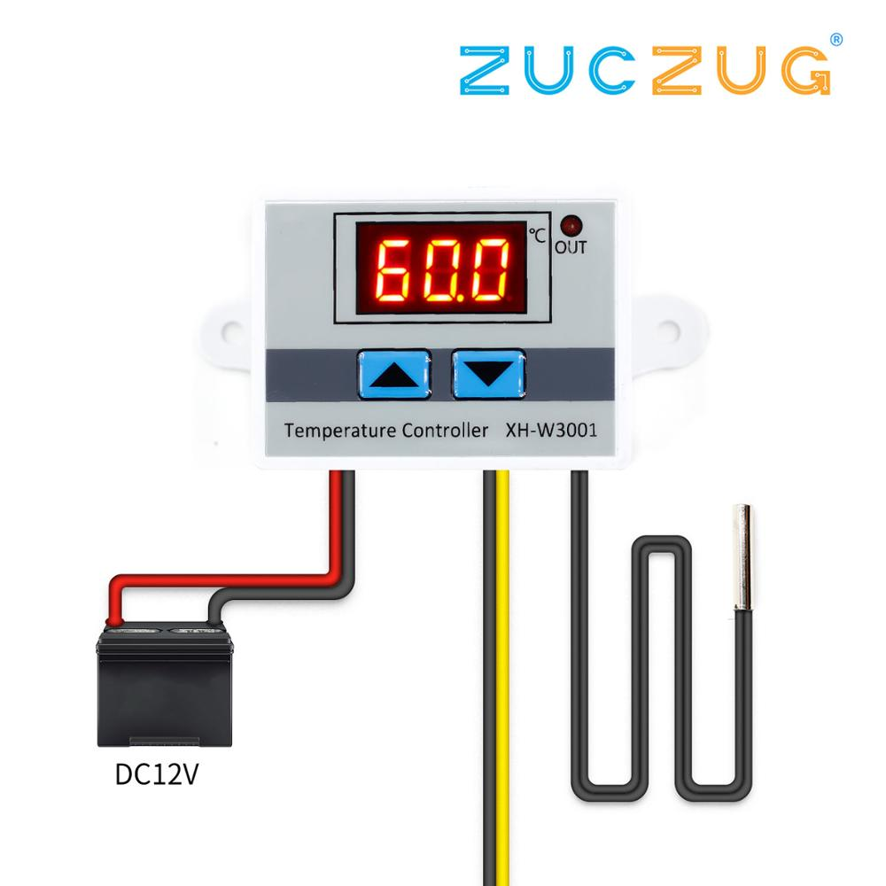 10A <font><b>12V</b></font> <font><b>24V</b></font> 220VAC Digital LED Temperature Controller XH-W3001 for <font><b>Arduino</b></font> Cooling Heating Switch Thermostat NTC Sensor image