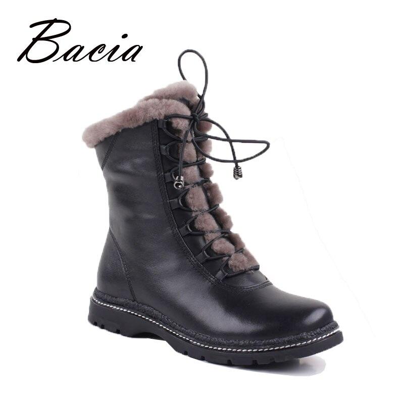 Bacia D'hiver Mi-culf Laine Chaude Fourrure Bottes Véritable Pleine fleur En Cuir Longue Peluche Neige Bottes Femmes Haute Qualité plat Chaussures VB054