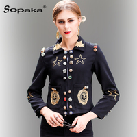 2018 Spring Autumn Black Jacket Women Vintage Gold Geometric Pattern Embroidery Diamonds Button Designer Short Lady