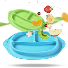 ideacherry Kid Children Plate 100% Silicone Dishes Bowl with Suction Infant Feeding Food Separate Pratos Tray Dishes For Toddler
