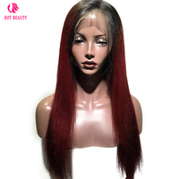 Hot Beauty Hair Wine Color Lace Front Human Hair Wigs Pre Plucked Peruvian Straight Ombre Remy Hair Natural Hairline Lace Wig