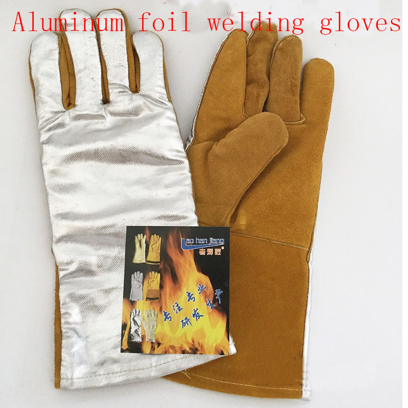 New 2017 cowhide aluminum foil work gloves TIG MIG welding of fire insulation to high temperature protection Glove цена и фото