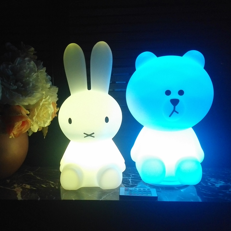 Colorful LED Rabbit Night Light Bear Table Lamp Rechargeable Children Baby Kids Birthday Christmas Gift Animal Cartoon LED Lamp free shipping plastic rechargeable battery illuminated christmas led snowman night table lamp led baby night light for gift