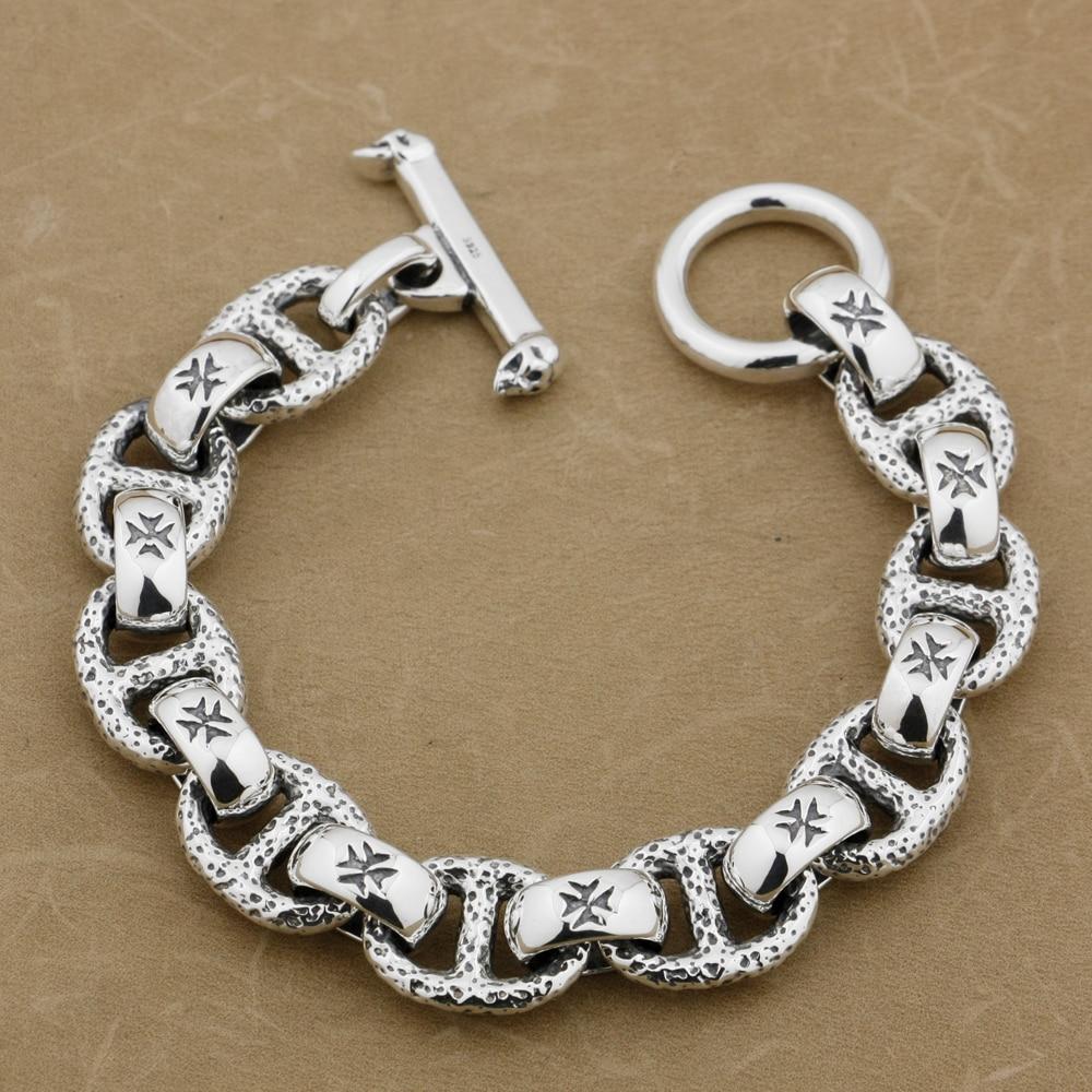 Huge 925 Sterling Silver Handmade Chain Mens Biker Rocker Punk Bracelet 8W006