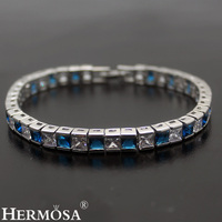 3 Colors Blue Red Black Fashion Shows Hermosa Silver Jewelry Bracelet 17 5cm Pretty Women Holiday