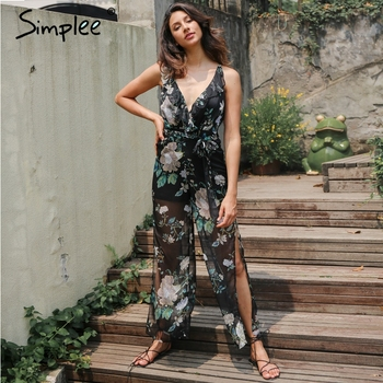 Deep V print flower women jumpsuit