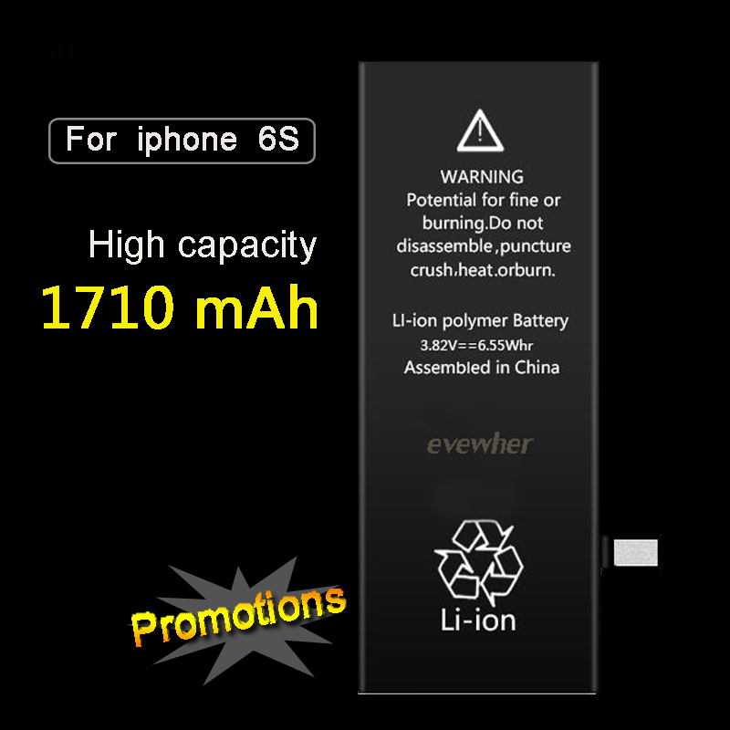 Evewher For Iphone 6S Battery High Capacity Batery For Iphone6S Replacement Batteries 1710mah Lipolymer Battery Free Tools