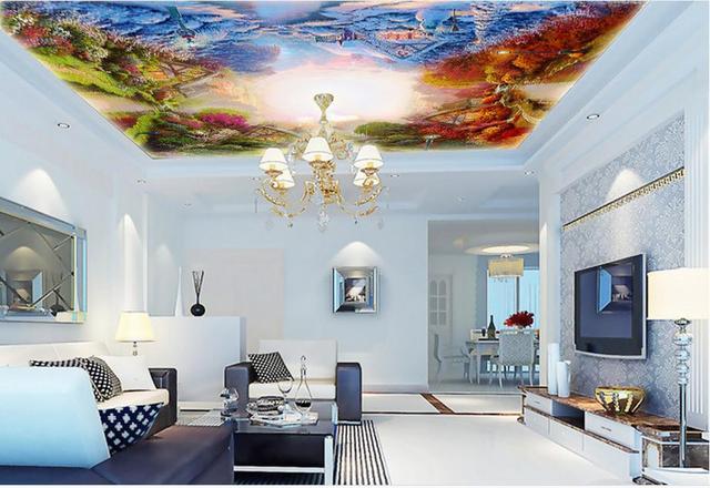benutzerdefinierte 3d moderne decken wandmalereien garten vier jahreszeiten tapete badezimmer 3d. Black Bedroom Furniture Sets. Home Design Ideas