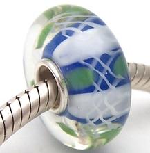 JG1095 100% S925 Sterling Silver Beads Murano Glass beads Fit European Charms Bracelet charms diy jewelry Lampwork GlassBeads недорого