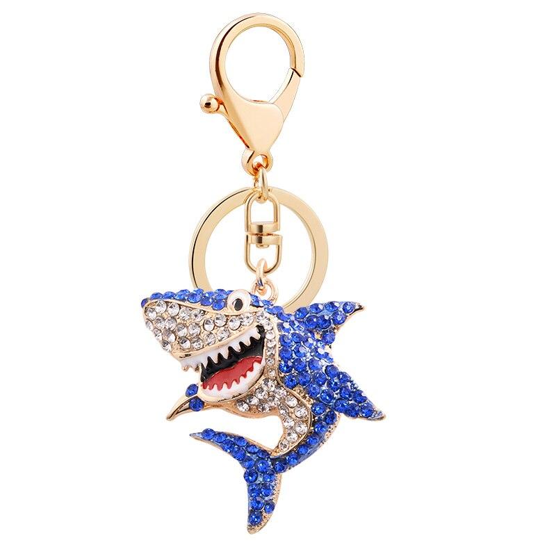 EASYA 3 Colors Crystal Shark Keychain Unique Design Rhinestone Fish Keyrings Jewelry Women Girls Bag Pendant Charms Accessories