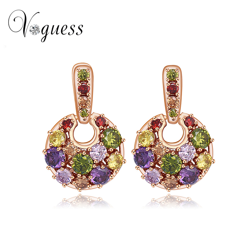 VOGUESS New Hot Earring Jewelry High Quality Crystal Multicolor Special Cute Stud Earrings for Women
