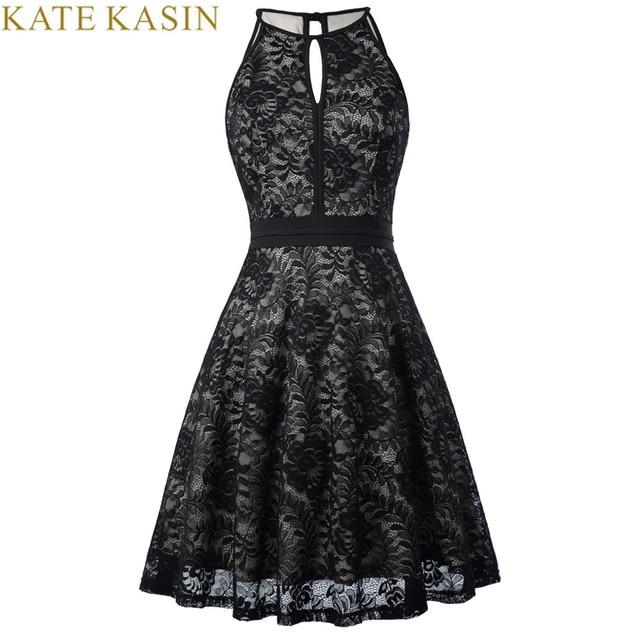 bb8212a28 Kate Kasin 2018 Vestido corto sin mangas negro Vintage vestidos formales vestidos  de encaje para fiesta