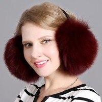 Real fox fur earmuffs winter ladies warm natural raccoon plush earmuffs with headphones girls ear warmer genuine fur earmuffs