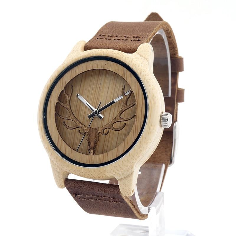 2017 사슴 헤드 디자인 대나무 나무 석영 시계 남자 여자 럭셔리 레트로 정품 가죽 손목 시계