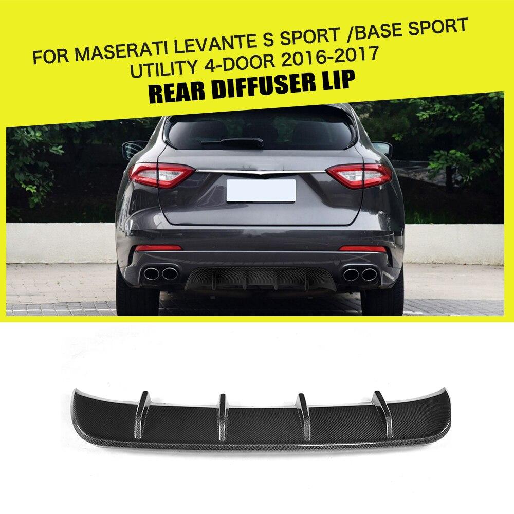 Rear Bumper Diffuser Lip Spoiler Bumper  for Maserati Levante Base S Sport Utility 4 Door 2016   2019 Carbon Fiber / FRP Black|spoiler bumper|carbon fiber rear diffuser|rear diffuser - title=