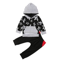 Spring Autumn Baby Kid Girl Boy Clothing Set Long Sleeves Striped Five pointed Star Top+Pant Infant Children Kids Clothes S