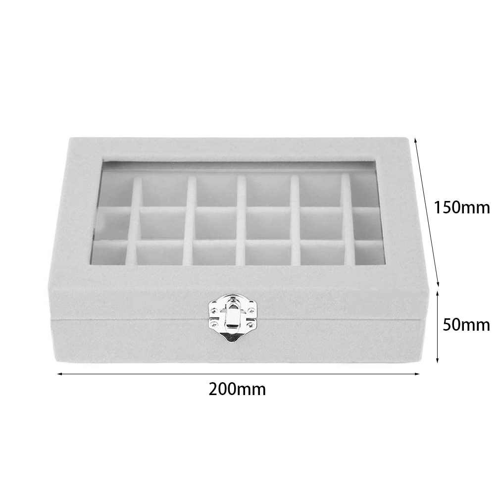Gray Wine Red 24 Grids Jewelry Display Boxes Glass Velvet Holder Case Rings Earrings Display Women Makeup Storage Casket