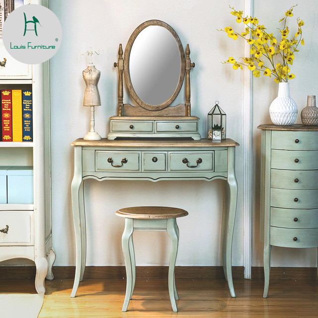 Louis Fashion French Country Mediterranean Furniture Retro White Dresser Small Bedroom Mini Princess