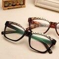 Выдолбленные Металлический каркас Vintage солнцезащитные очки Прозрачные линзы оптические очки Новый 2016 Квадратные рамки Óculos де золь N547