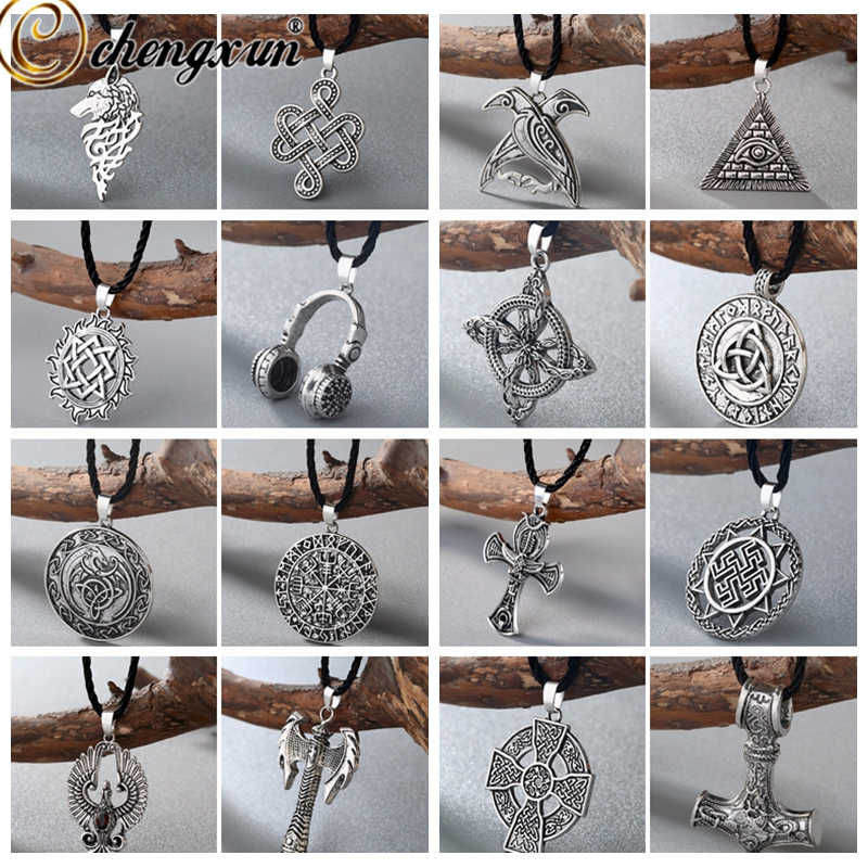 CHENGXUN Viking Men Necklace Multiple Punk Gothic Style Norse Amulet Pendant Necklace Slavic Talisman Jewelry Gift for Boys