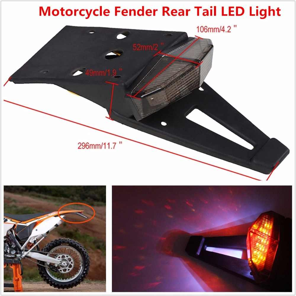 Smoked Rear Fender LED Brake Tail Light Lamp W/ Bracket for Off-road Motorcycle