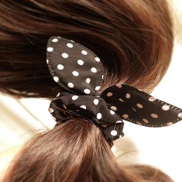 8Pcs/Lot Cute Flower Hair Rope Elastic Rubber Bands Headbands Rabbit Ear Dot Headwear Elastic Hair Band Hair Ties Rope Scrunchy
