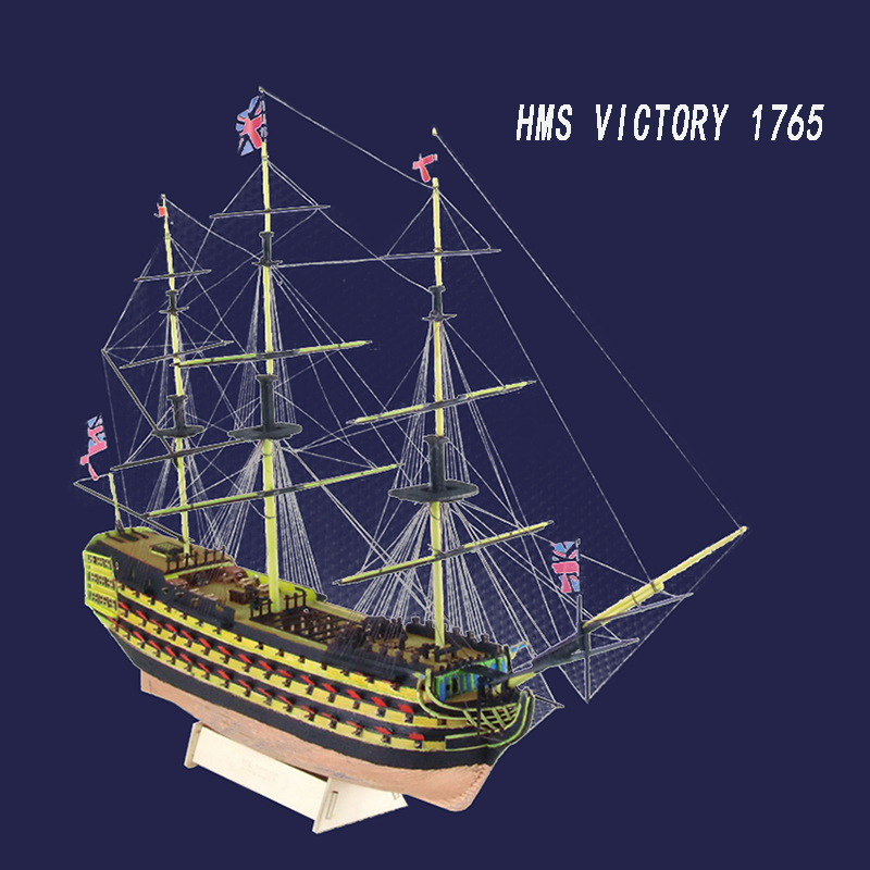 HMS Victory 1765 Western Wooden Sailboat British Royal Navy Ship Model Ships Laser Cut Process Educational