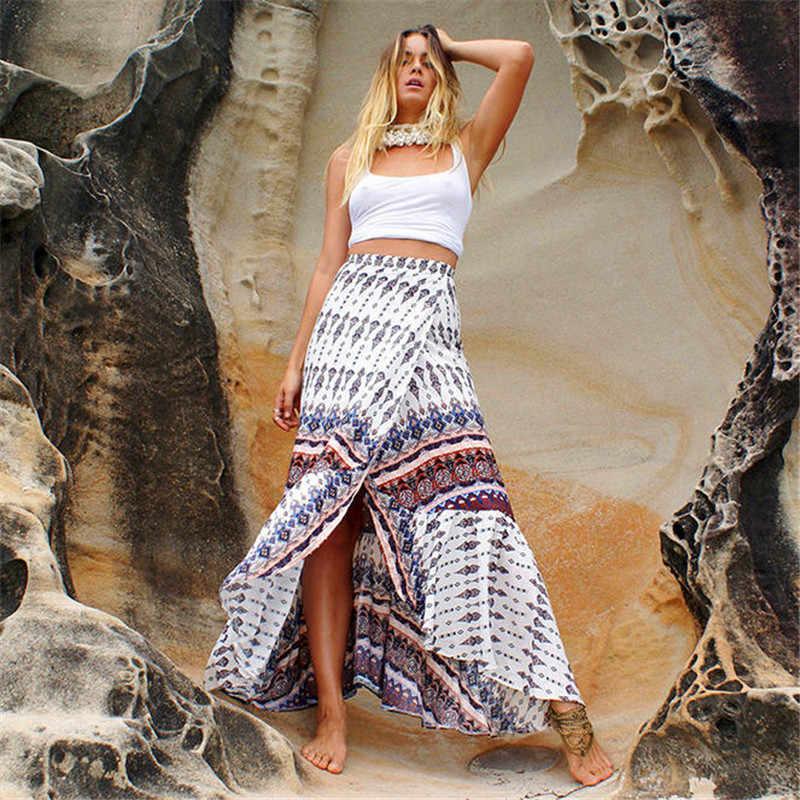 ff70de6a8083b Bohemian Maxi Skirt Women 2019 Summer New Style Printed High Waist Split  Long Skirts Boho Vintage Beach Skirt A1624