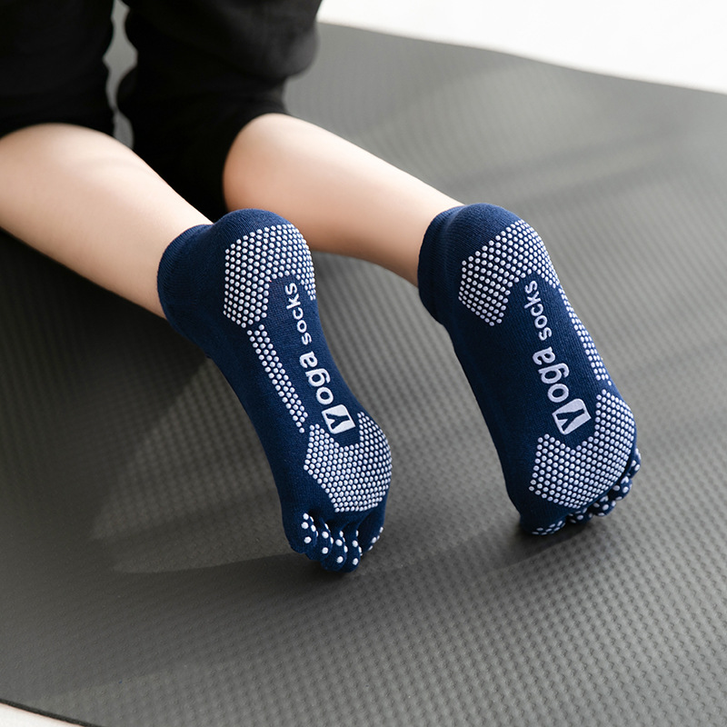 1pair Women Yoga Socks Anti-slip Five Fingers Backless Cotton Silicone Non-slip 5 Toe Winter Female Ballet Gym Foot Care  Socks