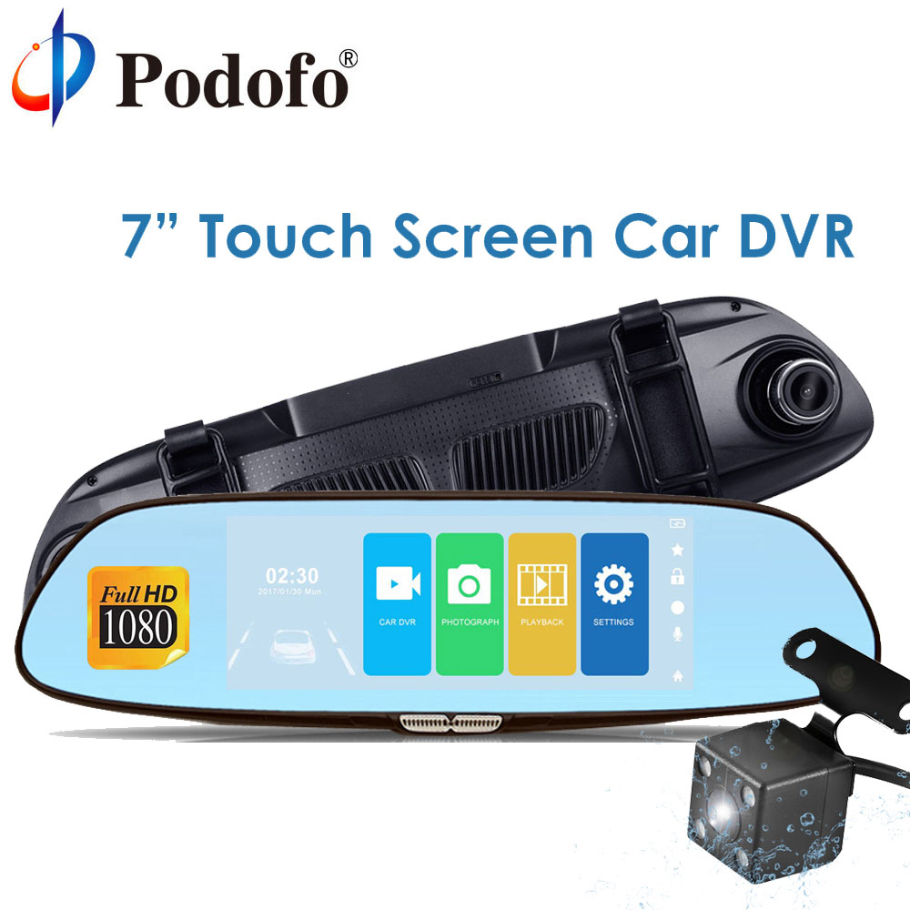 все цены на Podofo 7'' Touch Screen Dash cam Full HD 1080P Dvr Camera Dual Lens Car Rearview Mirror Camera Digital Video Recorder Camcorder онлайн