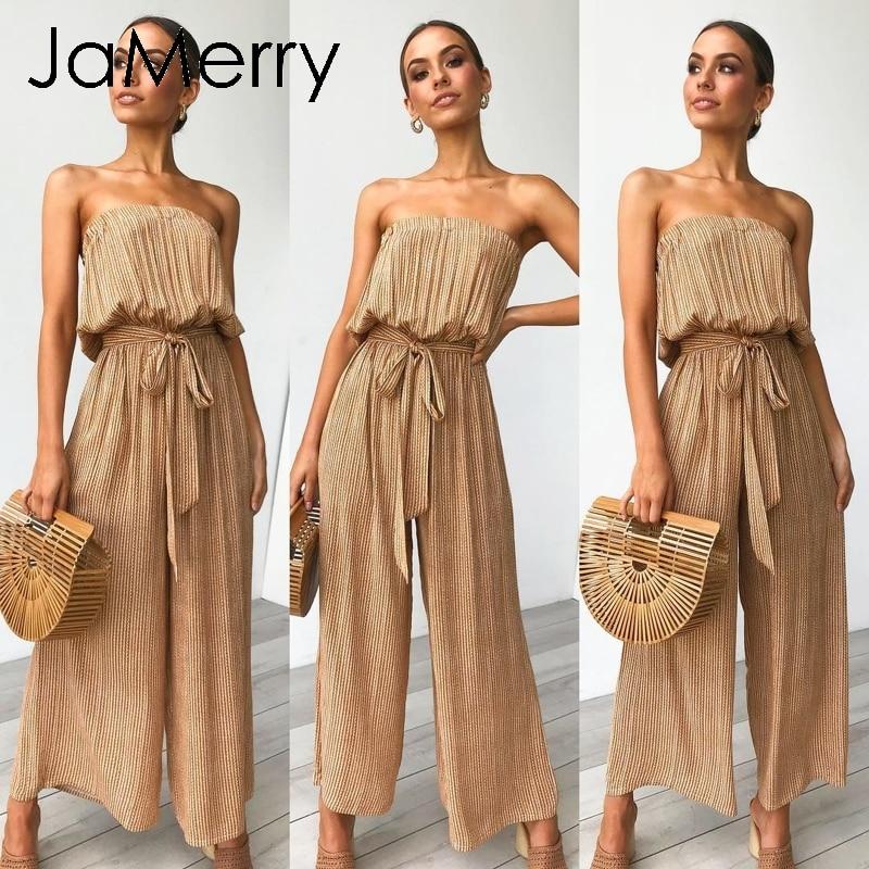 JaMerry Sexy épaule dénudée longue combinaison barboteuse femmes ceintures combinaison combishort barboteuses été solide imprimé léopard salopette 2019