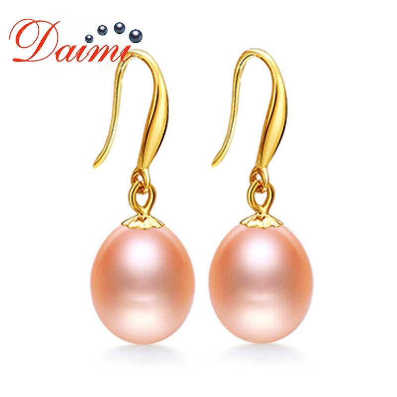 DAIMI 18k Gold Hook Earrings Freshwater Pearl Earrings 8-9mm 18k Yellow Gold Fine Jewelry 1000pcs 0402 18k 18k ohm 5