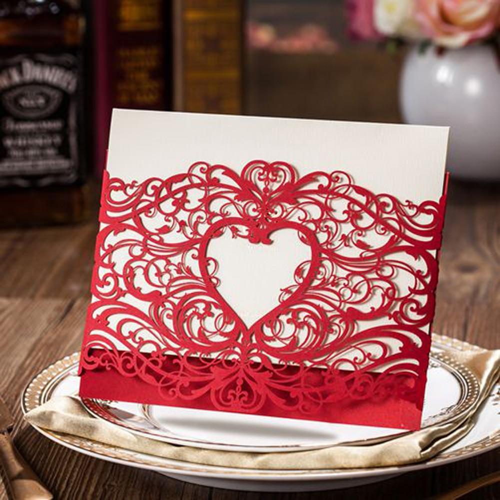 1Pcs Sample Heart Laser Cut Wedding Invitation Cards Invitations ...