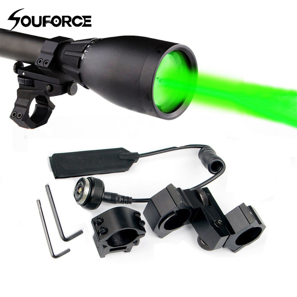Green Flashlight Night Vision Weapon Light Long Range Green Laser with Adjustable Scope Mount and Remote Pressure Button