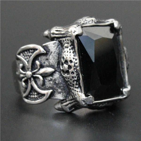 ขนาด 7 ~ 13 Cool ขัดคริสตัลสีดำ Anchor แหวน 316L สแตนเลสคุณภาพสูง Biker Shinning Anchor แหวน