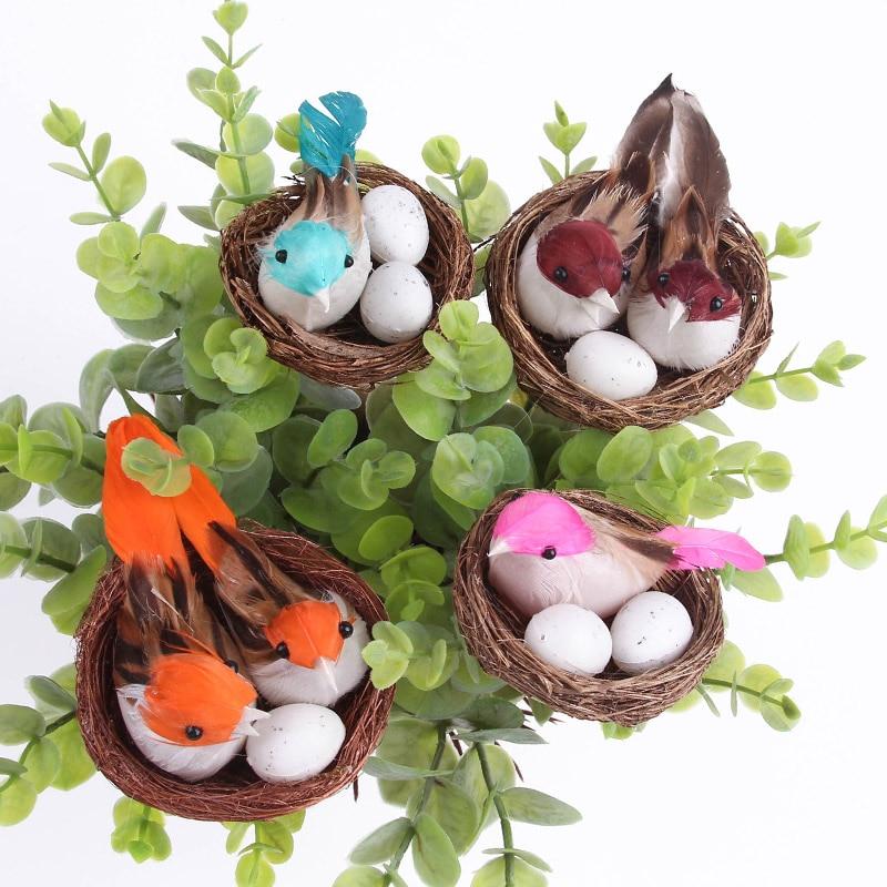 Kerstdecoratie Vogelnest Decoratieve Mini Vogel Kunstmatige Foam Veer - Feestversiering en feestartikelen
