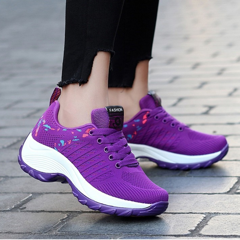 Women Tennis Shoes Sneakers Basket Femme Thick Bottom Platform Wedge Lace-Up Breathable Woman Shoes Ladies Heightening Shoes